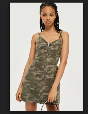 e5d59ffb01c5 NWT TOPSHOP Camo Camouflage Zip Up Pinafore Strappy Denim Dress UK 10 RRP  £34