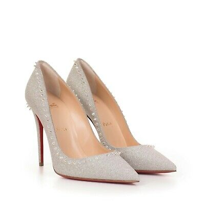 online store 9ab3f d085f CHRISTIAN LOUBOUTIN $845 Silver Glitter Sunset Anjalina 100 Pumps