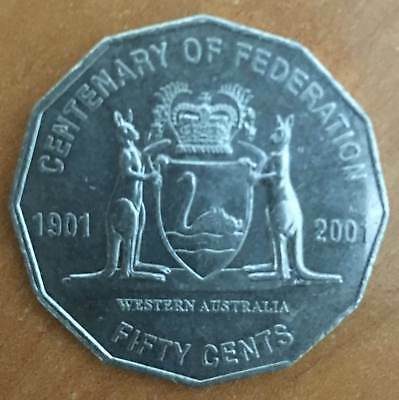 2001 Circulated 50c Coin Centenary of Federation.  WA (((