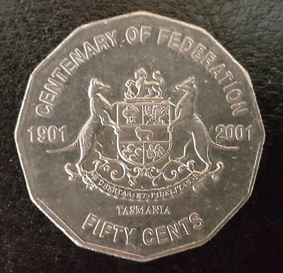 2001 Circulated 50c Fifty Cent Australian Coin Centenary of Federation - TAS )