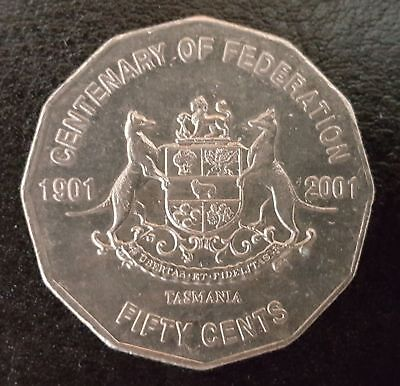 2001 Circulated 50c Fifty Cent Australian Coin Centenary of Federation - TAS ))