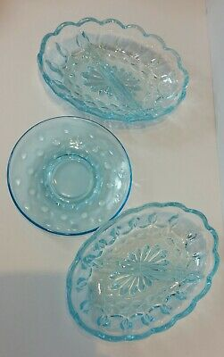 Vintage Indiana light Blue Glass Divider Dishes and round dish