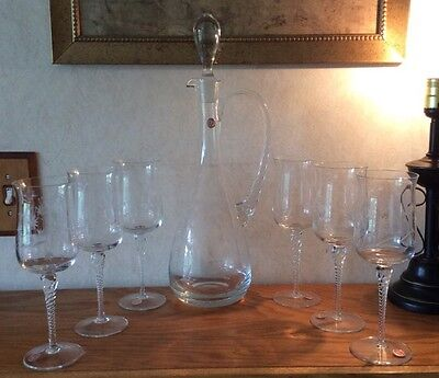 """Vintage Made in Roumania Floral Etched Glass and Decanter and 6 wine glasses 17"""""""