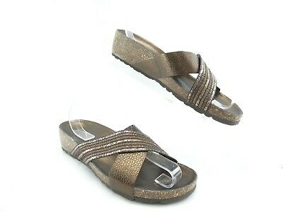 4f63f3c4a93d ITALIAN SHOEMAKERS Gold Metallic Leather Wedge Cork Footbed Sandals Slide  Sz 8.5