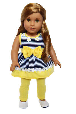 "Doll Clothes 18"" Pants Yellow Top Yellow White Navy Stripe Fit AGl Dolls"