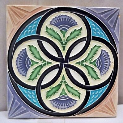 Tile Majolica Japan Art Nouveau Geometric Design M S Tile Works Vintage Rare#236