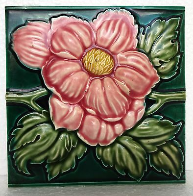 Antique Majolica Tile Flower High Embossed Vintage Decorative  Collectibles Old