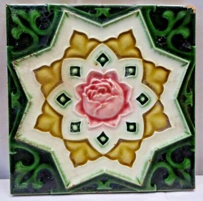Tile Majolica England Art Deco Style Ceramic Porcelain Star Design Collectib#222