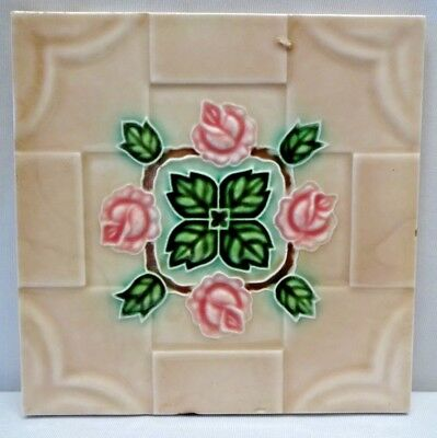 Tile Japan Dk Art Nouveau Majolica Rose Pink Leaf Green Design Vintage Rare #201