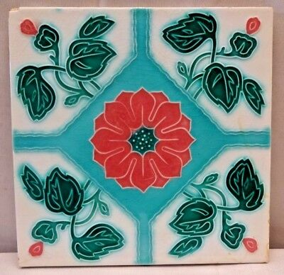 Tile Majolica Japan Art Deco Style Ceramic Porcelain Flower Design Collectib#223