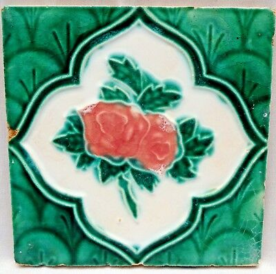 Vintage Tile Art Nouveau Majolica Rose Flower Design Old India Collectibles  # 3
