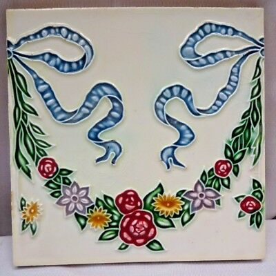 Vintage Porcelain Tile Christmas Garland Design Japan Art Nouveau Majolica #219