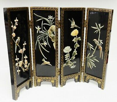 """Oriental Table Top Screen Asian 4 Panel Mother of Pearl Inlay Lacquer 14""""T Vtg"""