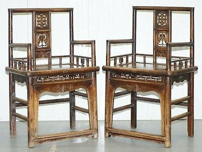Pair Of Chinese Circa 1910 Walnut Throne Elbow Armchairs Hand Carved Bats Etc