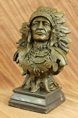 Indian Native American Art Chief Bust 100% Solid Bronze Marble Statue Bust Gift