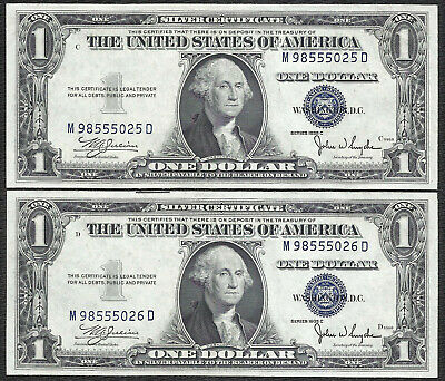 1935C $1 BLUE Seal SILVER Certificates! 2 Consecutive! Old US Paper Money!