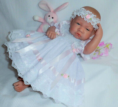 """Dolly Togs White Frilly Dress Hbd Premature Baby 3-5 lbs 15-18"""" Reborn Doll 2052"""