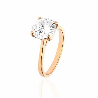 9a20d8534 Rose Gold Over Sterling Silver CZ Brilliant Solitaire Engagement Ring  0.85-3ct
