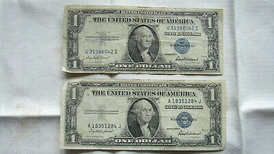 2 -- 1935 F One Dollar Silver Certificates. Blue Seal