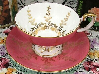 Aynsley Blush Pink Gold Gilt Vines Large Fancy Tea Cup And Saucer