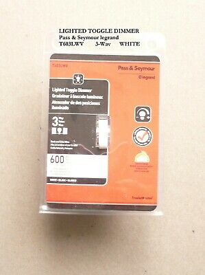 Pass & Seymour legrand TradeMaster LIGHTED Toggle Dimmer 3-Way WHITE T603LWV new