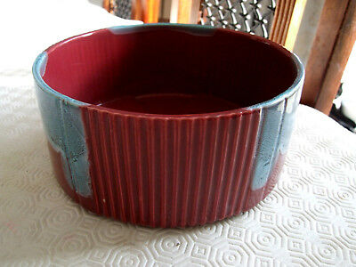 Vintage/Antique Bretby Red ribbed Bowl with Blue drip glaze 93