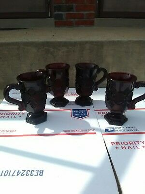 """Set of 4 Avon 1876 Cape Cod Ruby Red Glass Footed Pedestal Mugs Cup w/Handle 5"""""""