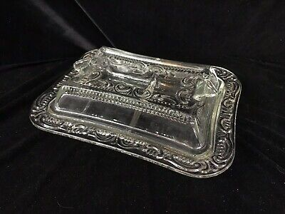 Antique 1890's Clear Glass Divided Covered Serving Dish, Elegant Raised Pattern