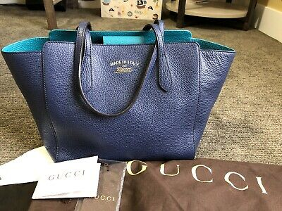 d8bdc0e6185 Gucci Swing Tote In Navy Blue Excellent Preowned Condition