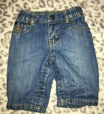 Baby Boys 3-6 Months Soft Lined Blue Denim Jeans Pants Gap Elastic Waistband @@!
