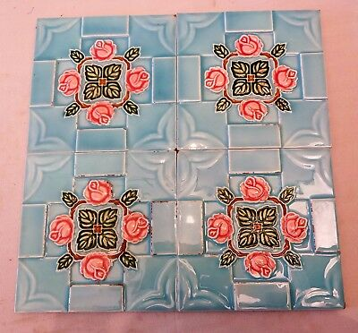 ANTIQUE TILE  SAJI JAPAN ART NOUVEAU MAJOLICA ARCHITECTURE COLLECTABLES 4 Pc LOT