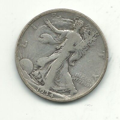 A Very Nice Vintage 1934 S Liberty Walking Silver Half Dollar Coin-Oct200