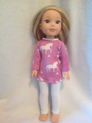 "Fits Wellie Wishers American Girl unicorn top leggings 14"" doll clothes outfit"