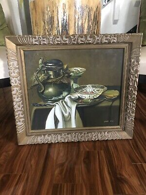 """Large Antique """"Teapot On Table"""" Oil Painting - Signed And Framed Vintage"""