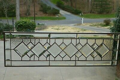 Beautiful All Clear Diamond Beveled Stained glass Transom!