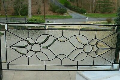 Beautiful All Clear Beveled Stained glass Transom!