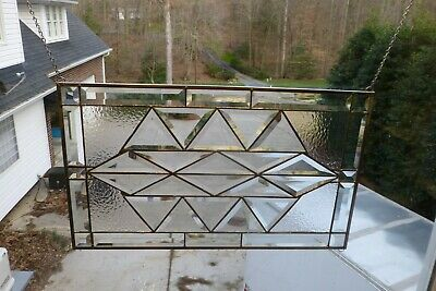 Beautiful All Clear Abstract Beveled Stained glass Window Panel