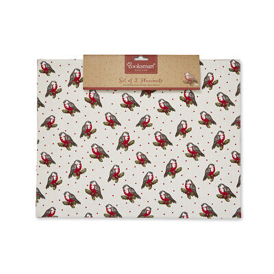 Cooksmart Christmas Red Robin Fabric Placemats Festive Table Mats Dinner Red