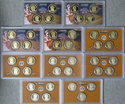 2007 thru 2016 Proof Presidential Dollar Set in Holders No Boxes or COAs