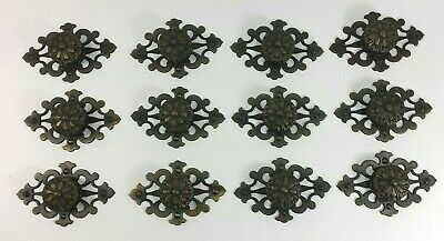 Set of 12 Vintage Drawer Pulls Metal Cabinet with Screws and Nails