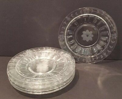 "Antique Set of 7 Hand Etched Floral Clear Glass 8-3/4"" Luncheon Plates Mint Cond"