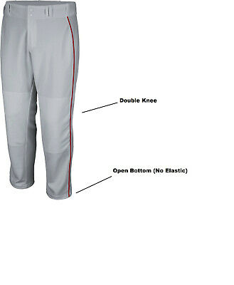 0745c8766 Majestic Cool Base Relax Fit Baseball Pants Youth Large Gray w  Scarlet  Piping
