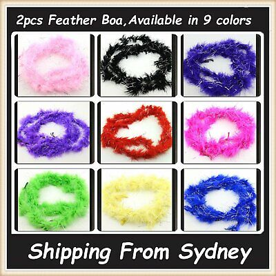 2pcs Feather Boa Strip Scarf Costume Dress Up Cosplay Party Decor Sparkling 1.8m