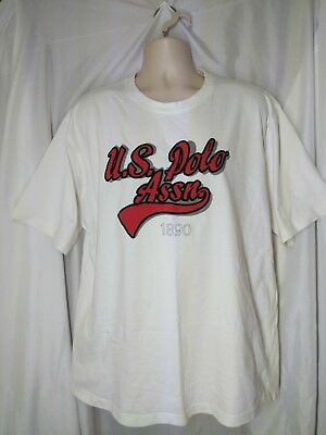 Vintage 90s Men's US Polo Assn Script Since 1890 T Shirt Hip Hop White 2XL XXL