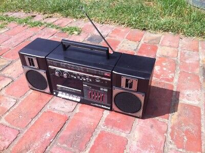 National RX C36 Stereo Radio Cassette Recorder 20w Boombox working RCA Line in !