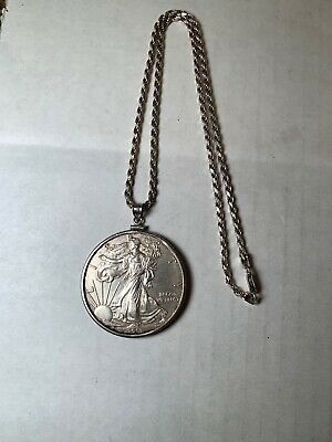 "2013 Silver Eagle 1 Oz Coin In SS Bezel On 18"" Sterling Silver Chain"