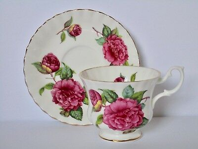 Royal Albert Pink Cabbage Rose Footed Tea Cup and Saucer