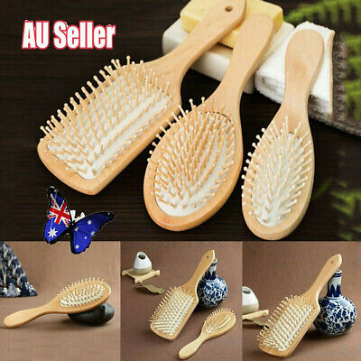 Bamboo Wooden Hair Brush Anti-Static Oval Head Meridian Massage Combs NEW