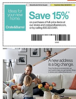 Crate and & Barrel 15% entire order 1coupon (email delivery )