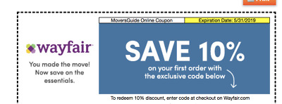WAYFAIR 10% OFF COUPON  EXP. 5/31/19 -Valid on First Order Only